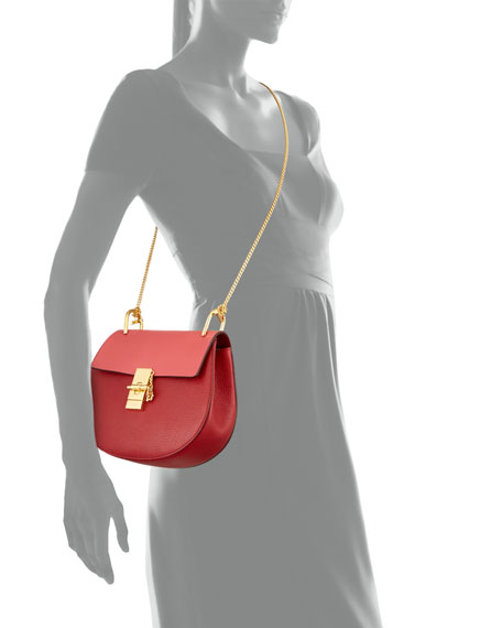Drew Small Chain Shoulder Bag, Red