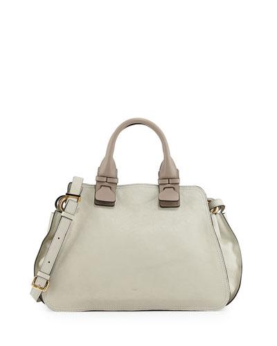 Chloe Fynn Small Double-Handle Satchel Bag, Light Gray