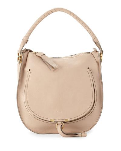 Chloe Marcie Leather Hobo Bag, Nude Beige