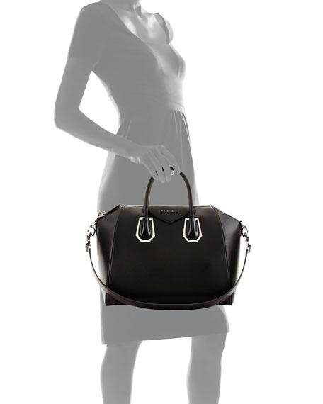 Antigona Medium Satchel Bag with Plexi Hardware, Black
