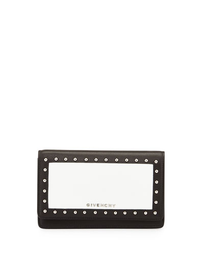 Studded Colorblock Wallet On Chain, Black/White