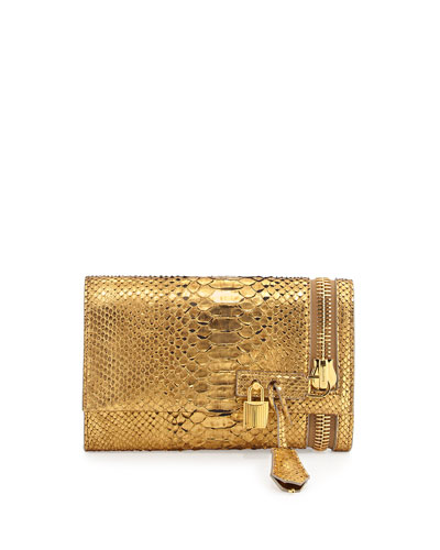 Tom Ford Alix Python Zip & Padlock Crossbody Bag, Gold