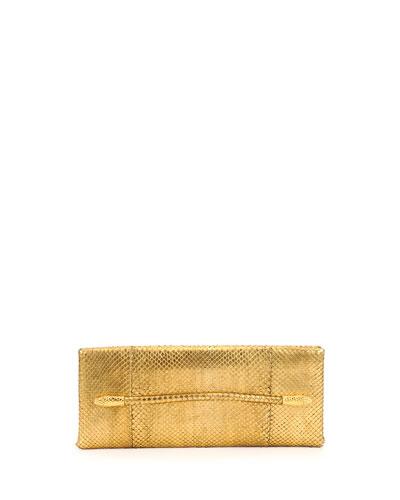 Tom Ford Metallic Python Serpent Bar Clutch Bag, Gold