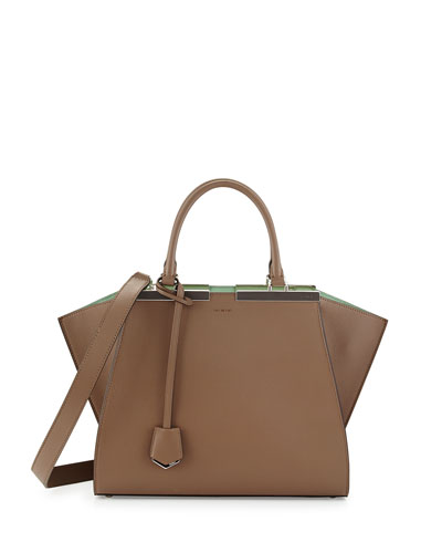 Fendi Trois-Jour Petite Bicolor Tote Bag, Green