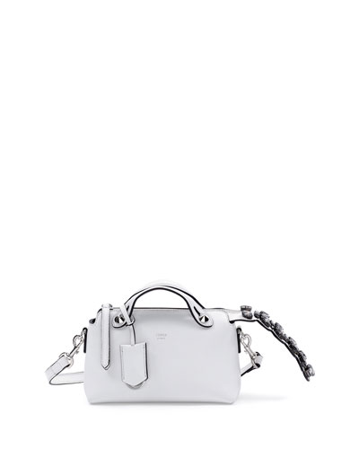 Fendi By The Way Mini Crystal-Tail Satchel Bag, White