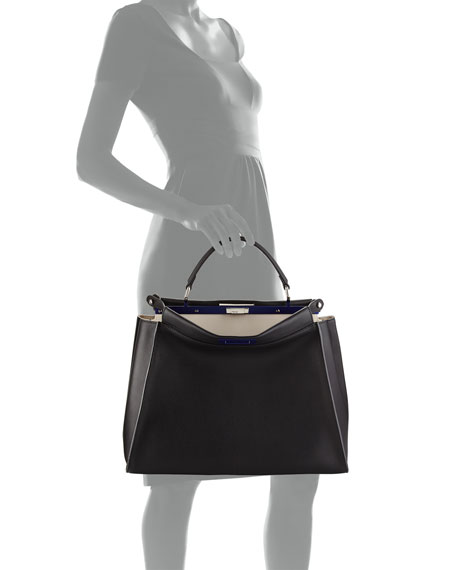 Peekaboo Large Satchel Bag, Black/White