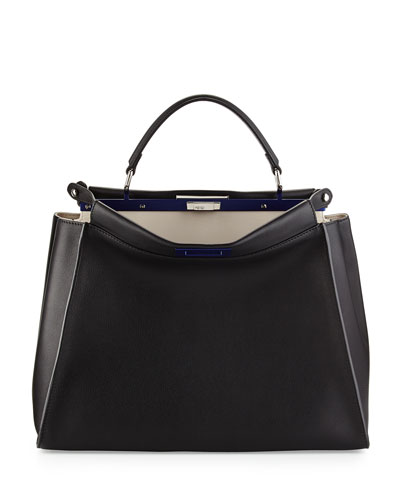 Fendi Peekaboo Large Satchel Bag, Black/White
