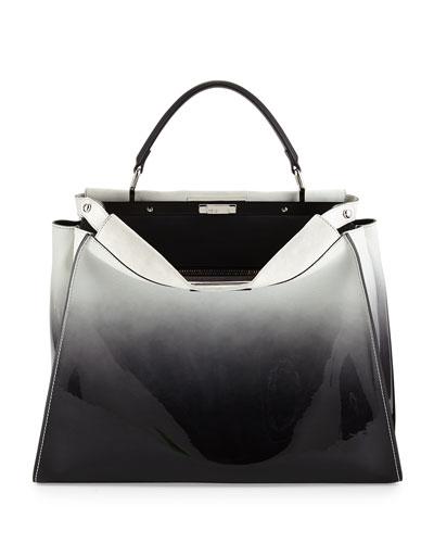 Fendi Peekaboo Large Ombre Patent Satchel Bag, Black/White