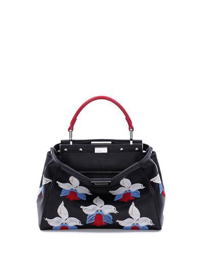 Fendi Peekaboo Mini Orchid-Embroidered Satchel Bag, Black