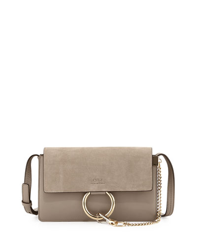 Faye Small Suede Shoulder Bag, Gray
