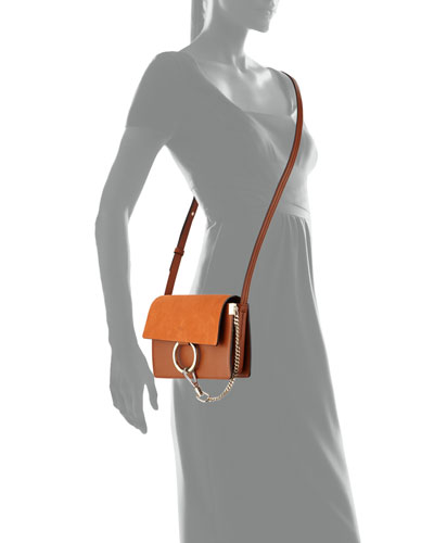 chloe faye small suede flap leather shoulder bag