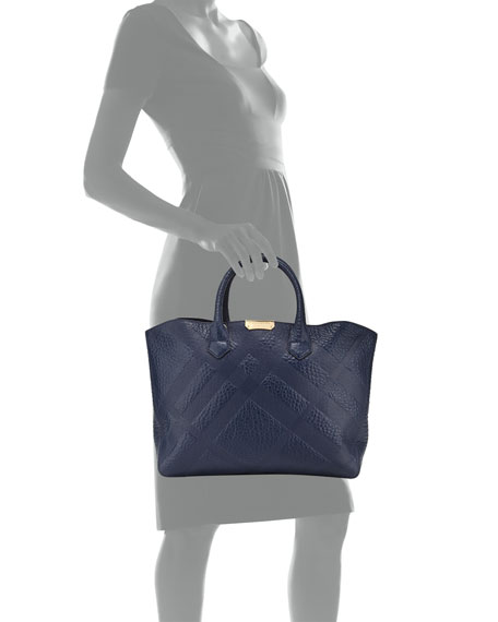 Check-Embossed Medium Tote Bag, Blue Carbon