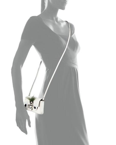 Baguette Micro Bag Bugs Crossbody Bag, White/Black