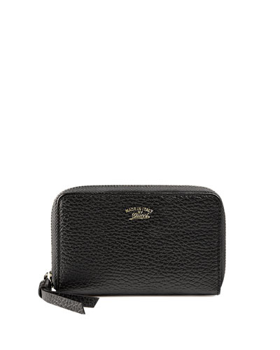 Mini Zip-Around Wallet, Nero