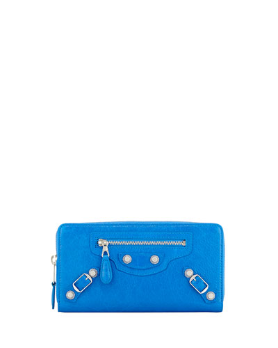 Giant 12 Nickel Continental Zip Wallet, Bright Blue