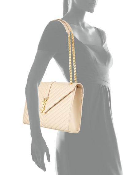 Saint Laurent Monogram Matelasse Shoulder Bag, Nude