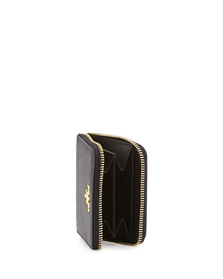 Prada Saffiano Mini Leather Wallet, Black (Nero)