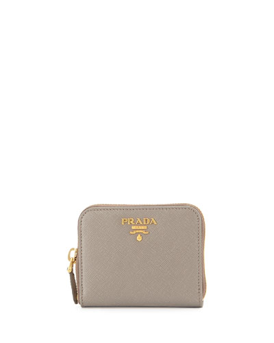 Saffiano Mini Leather Wallet, Gray (Argilla)