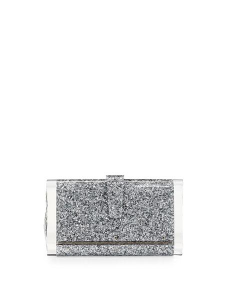 Lara Backlit Acrylic Clutch Bag, Silver