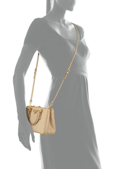 prada ostrich handbags - Prada Saffiano Mini Galleria Crossbody Bag, Beige (Sabbia)