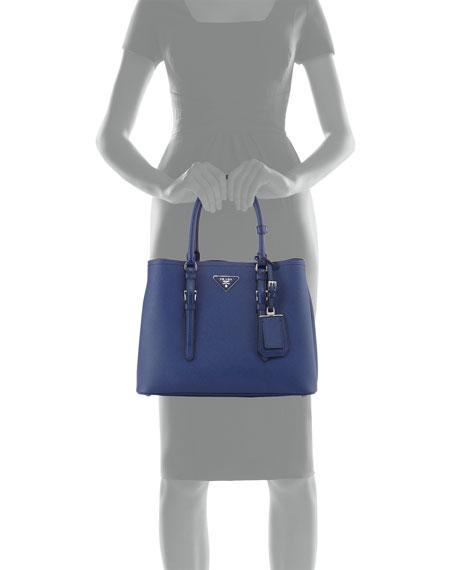 Prada Saffiano Cuir Covered-Strap Double Bag, Bright Blue (Bluette) - prada galleria bag black+bright blue