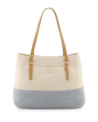 Squishee Jav II Tote Bag, Cream/Blue Tweed