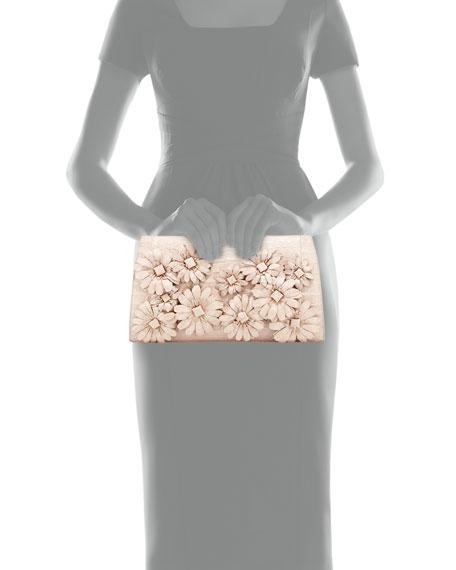 Slicer Crocodile Flower-Applique Clutch Bag, Pearl Matte
