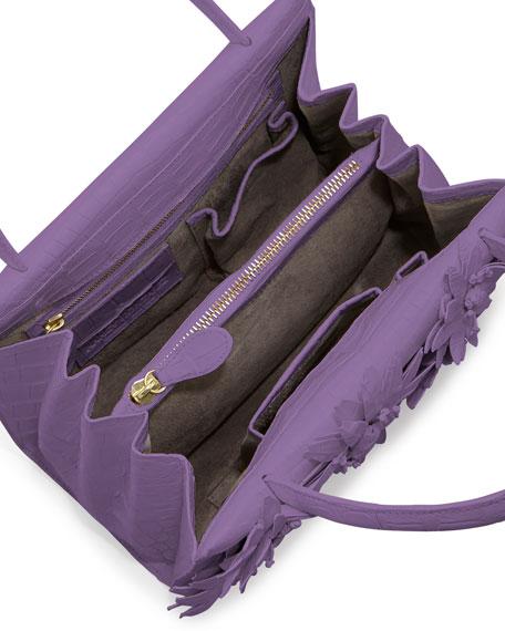 Mini Wallis Flower Crocodile Satchel Bag, Lilac Matte