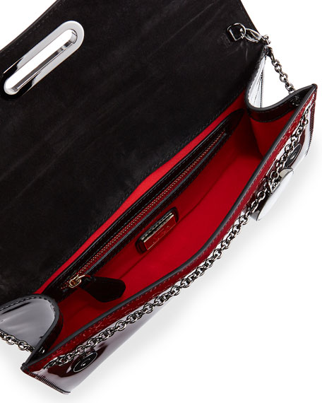 Riviera Patent Degrade Evening Clutch Bag, Black/Red