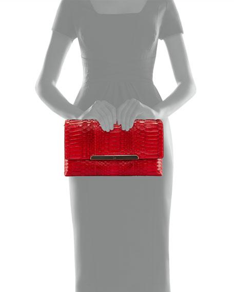 Rougissime Python Clutch Bag, Red