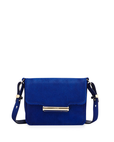 Diane Mini Calf-Hair Crossbody Saddle Bag, Blue
