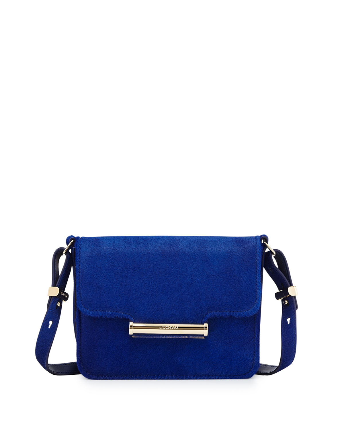 Diane Mini Calf Hair Crossbody Saddle Bag Blue