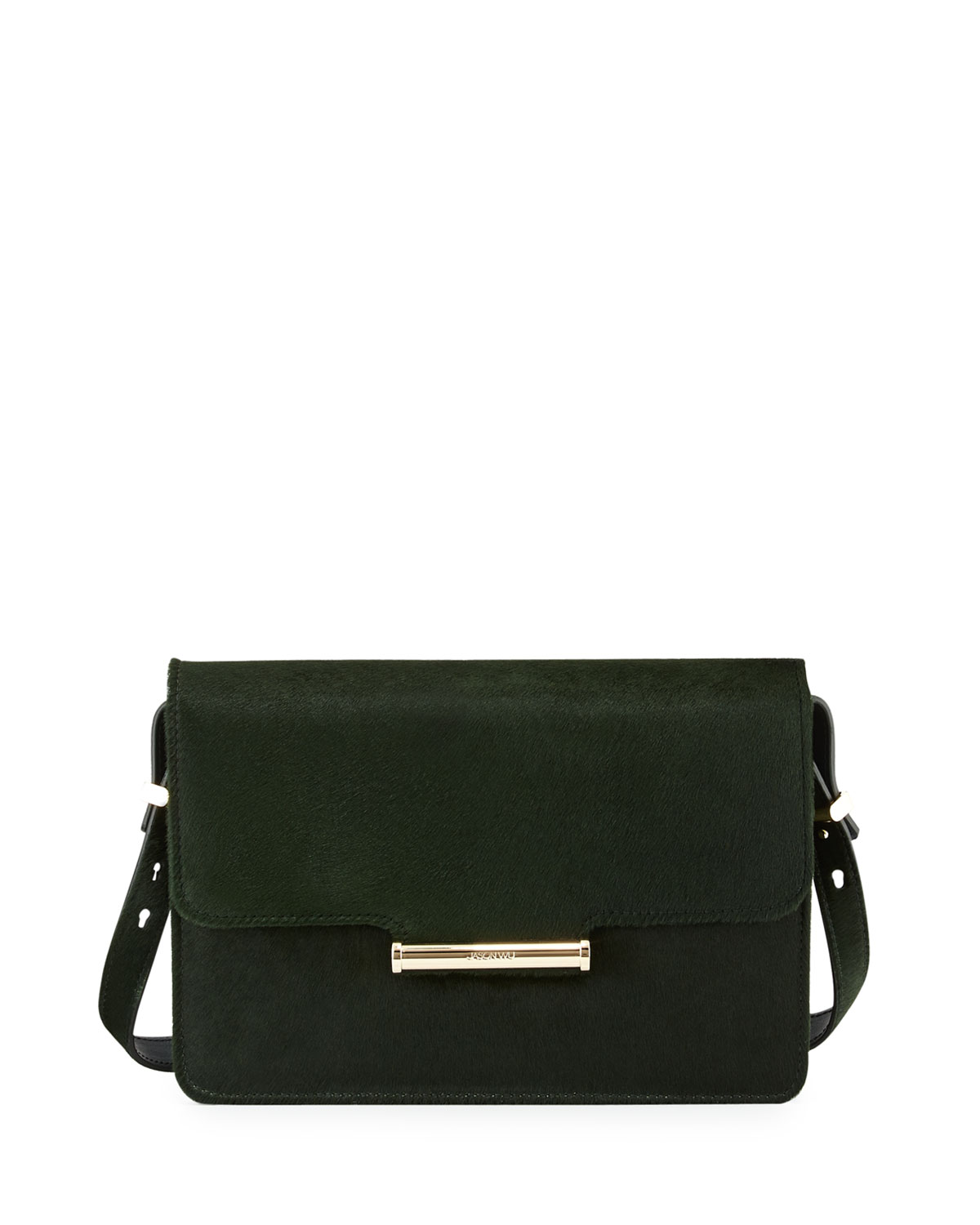 Diane Calf Hair Crossbody Saddle Bag Emerald