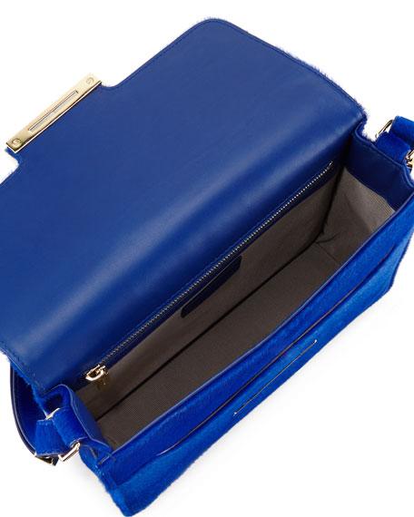 Diane Calf-Hair Crossbody Saddle Bag, Blue