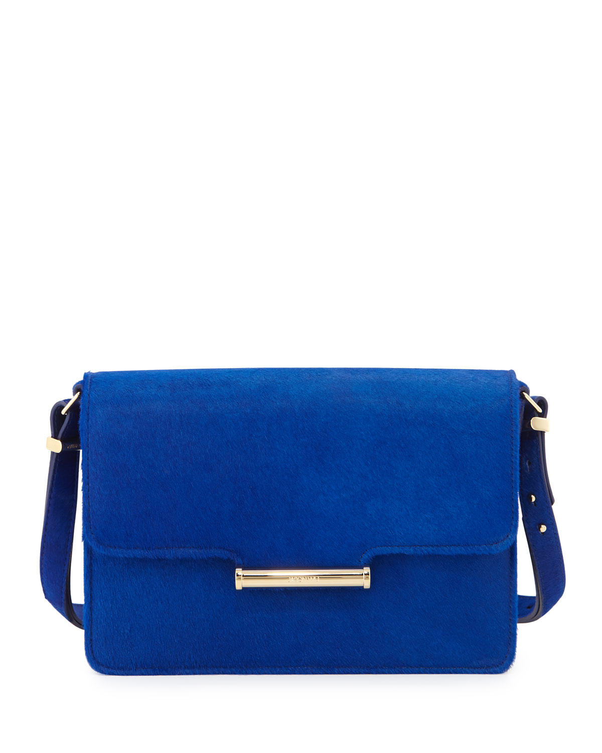 Diane Calf Hair Crossbody Saddle Bag Blue