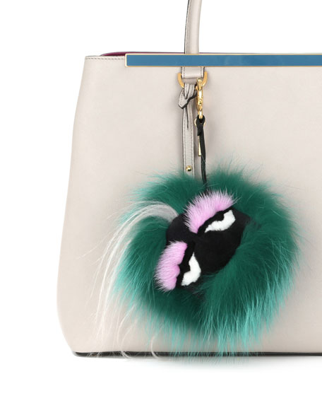 Monster Fur Charm for Handbag, Green Multi