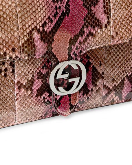 Gucci Linea B Python Medium Shoulder Bag, Pink Multicolor