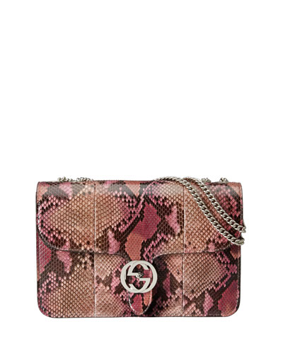 Linea B Python Medium Shoulder Bag, Pink Multicolor