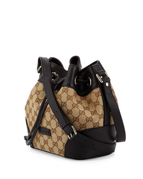 GG Classic Small Bucket Bag, Beige/Black