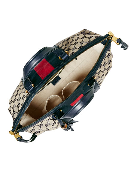Raina Medium GG Canvas Top Handle Bag, Beige/Blue