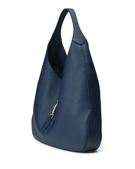 Jackie Soft Leather Hobo Bag, Navy