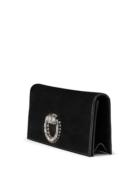Broadway Suede Evening Clutch Bag, Black
