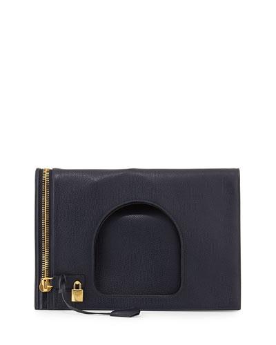 Alix Leather Padlock & Zip Shoulder Bag, Sapphire Blue