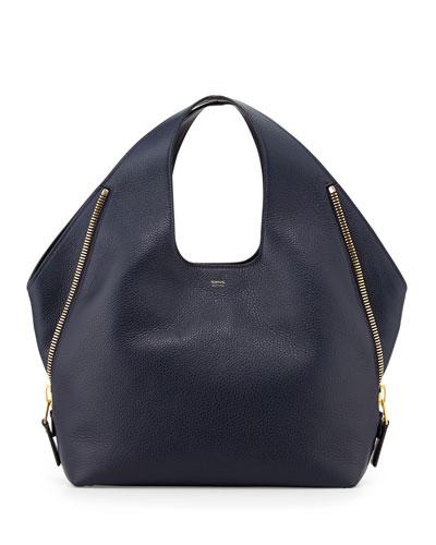 Jennifer Side-Zip Leather Hobo Bag, Sapphire Blue