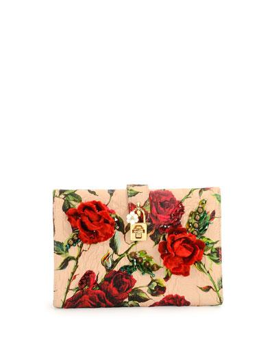 Rose Damask Clutch Bag, Red Multi