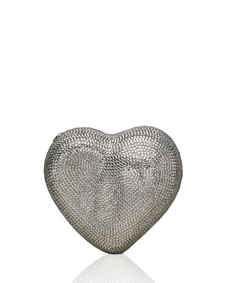 Judith Leiber Couture Heart Crystal Clutch Bag, Silver