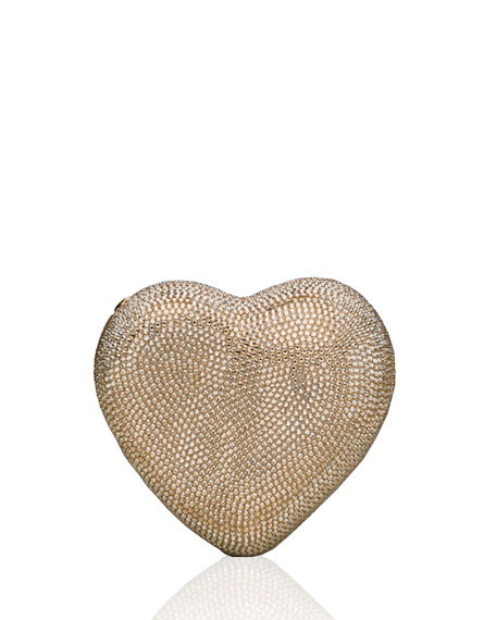 Judith Leiber Couture Heart Crystal Clutch Bag, Silver/Champagne