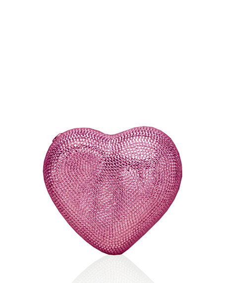 Heart Crystal Clutch Bag, Silver/Light Rose