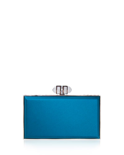 Satin Coffered Rectangle Clutch Bag, Capri Blue