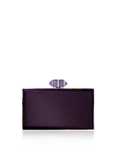 Satin Coffered Rectangle Clutch Bag, Plum